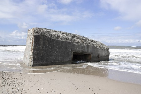 Denmark,Vrist,View Of World War Bunker On Beach