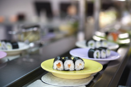 Germany,Munich,Plate Of Sushi On Kitchen Worktop,Close Up