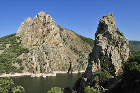 Europe,Spain,Extremadura,Monfrague National Park,View Of Pena Falcon Rock On Tajo River LANG_EVOIMAGES