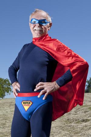 Austria,Burgenland,Senior Man In SupermanS Costume