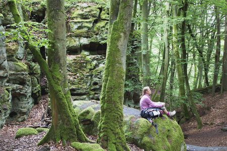 Germany,Rhineland-Palatinate,Eifel Region,South Eifel Nature Park,View Of Woman Hiker Sitting On Bunter Rock Formations At Beech Tree Forest LANG_EVOIMAGES