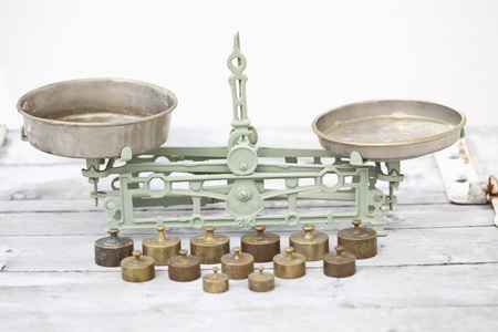 Germany,Close Up Of Old Weighing Scale With Balance Weights