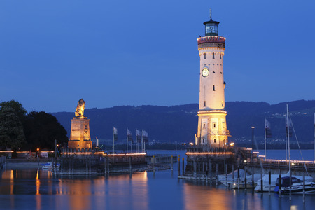 Germany,Bavaria,Swabia,Lindau,View Of Harbour Entrance And Lighthouse At Night LANG_EVOIMAGES