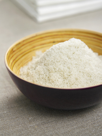 Bath Salt In Bowl With Towels,Close Up