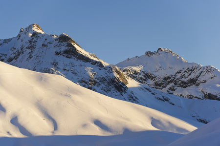 Austria,Zuers,Ski Tracks In Snow