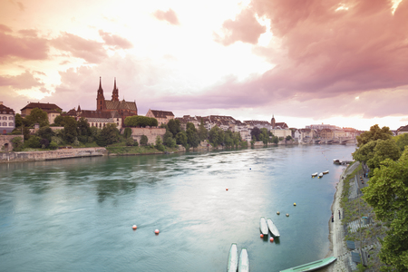 Switzerland,Basel,View Of Basel Munster And Old Town At Sunset