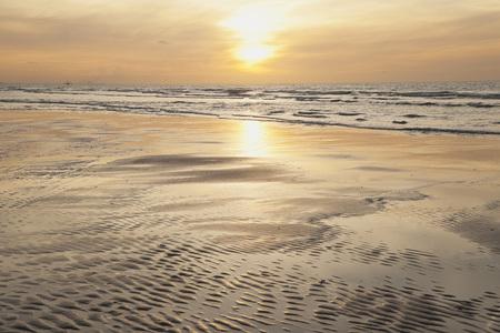 Belgium,Flanders,View Of Beach At Sunset