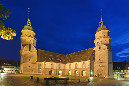 Germany,Baden Wurttemberg,Freudenstadt,View Of Parish Church At Night