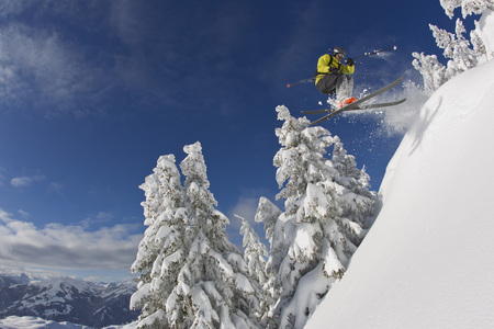 Austria,Tyrol,Kitzbuhel,Young Man Skiing