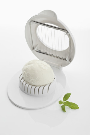 Mozzarella Cheese On Egg Cutter With Basil LANG_EVOIMAGES