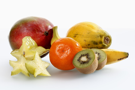 Variety Of Fruits On White Background,Close Up LANG_EVOIMAGES