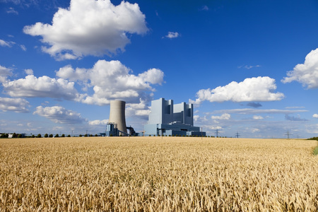 Europe,Germany,North Rhine Westphalia,View Of Coal Power Plant With Corn Field