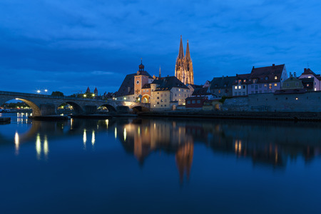 Germany,Bavaria,Regensburg,View Of Tower,Stone Bridge And Regensburg Cathedral