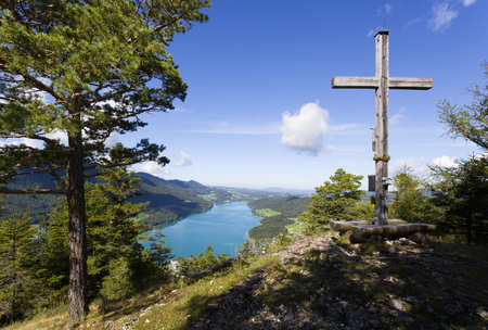 Austria,Fuschl,View Of Cross On Mountain  With Fuschlsee Lake