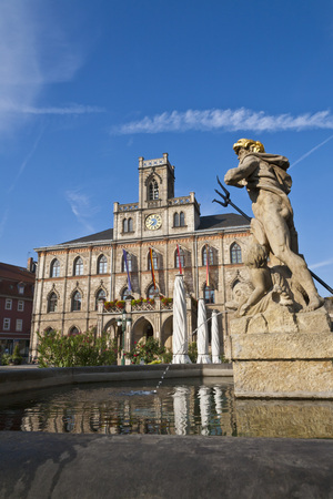 Germany,Thuringia,Weimar,View Of Neptune Fountain And City Hall