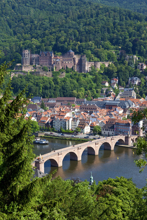 Germany,Baden Wuerttemberg,Heidelberg,View Of Heidelberg Castle And Old Town With Neckar River