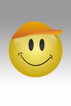 Yellow Button With Smiley Face Against Grey Background LANG_EVOIMAGES