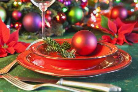 Germany,Cologne,Place Setting At Dining Table For Christmas