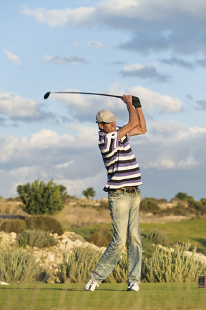 Cyprus,Man Playing Golf On Golf Course