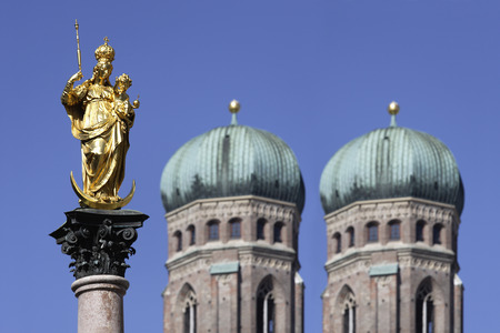 Germany,Bavaria,Munich,Marian Column In Front Of Church Of Our Lady LANG_EVOIMAGES