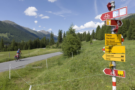Switzerland,Mature Man Cycling On Country Road,Directional Sign In Foreground