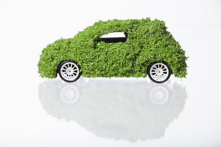 Car Covered With Grass On White Background
