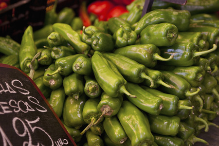 Spain,Malaga,Green Peppers In Market