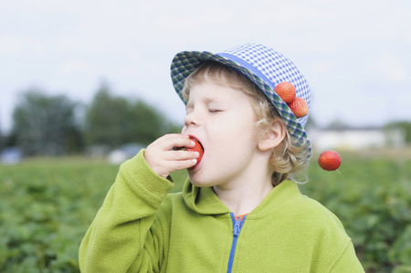 Germany,Saxony,Boy Eating Strawberry In Field,Close Up