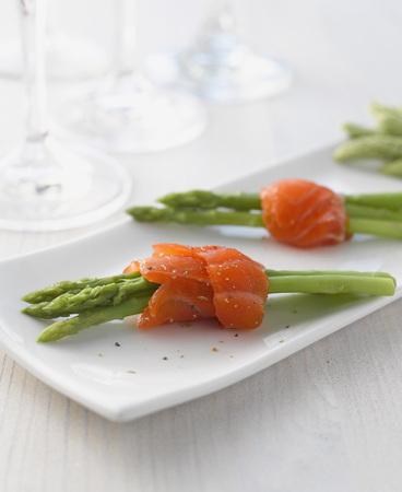 Salmon With Wild Asparagus On Plate