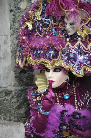 Woman With Venetian Mask And Costume