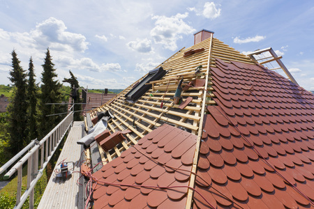Germany,Baden-Wuerttemberg,Stuttgart,Construction Of Roof