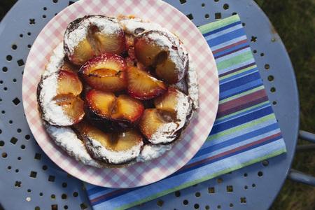 Belgium,Fresh Plum Cake With Icing Sugar On Plate