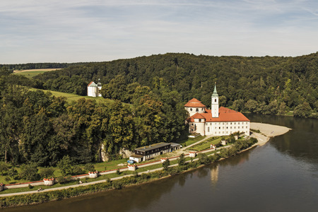 Germany,Bavaria,View Of Weltenburg Abbey By Danube River
