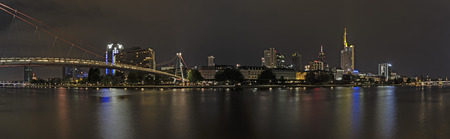 Germany,Frankfurt,View Of Financial District With Main River At Night