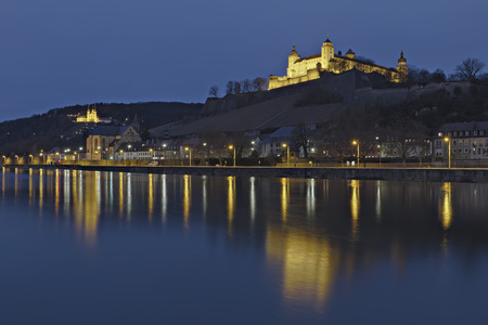 Germany,Bavaria,Wuerzburg,View Of Fortress Marienberg And Chapel LANG_EVOIMAGES