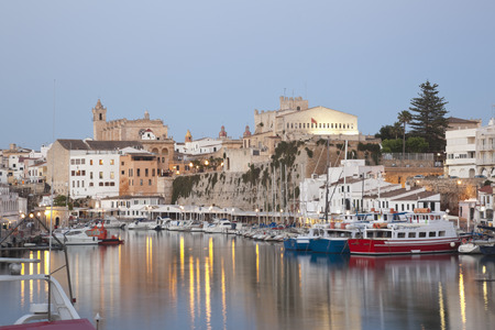 Spain,Menorca,View Of Ciutadella With Town Hall And Cathedral LANG_EVOIMAGES