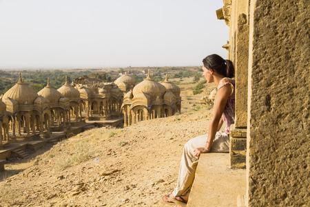 India,Rajasthan,Jaisalmer,Tourist At Bada Bagh Cenotaphs