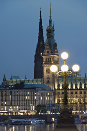 Germany,Hamburg,View Of St. Nicolas Curch And City Hall At Binnenalster Lake LANG_EVOIMAGES