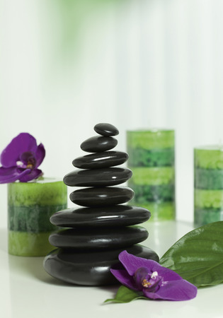 Arrangement Of Spa Products Of Spa Stones,Candles And Flowers,Close Up