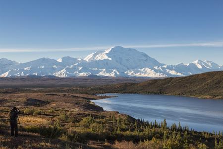 Usa,Alaska,Mature Man Taking Photo Of Mount Mckinley At Denali National Park
