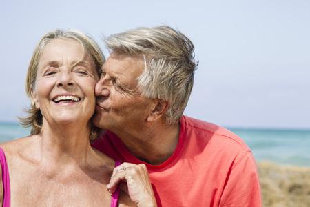 Spain,Senior Man Kissing To Woman,Close Up