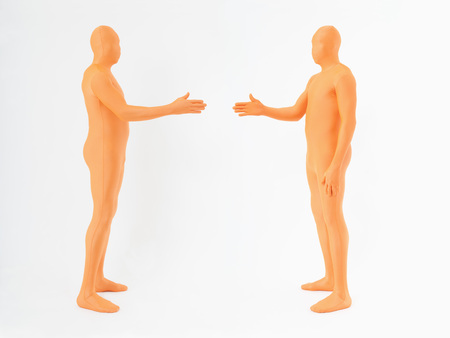 Mature Men In Orange Zentai Shaking Hands On White Background LANG_EVOIMAGES