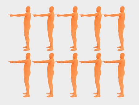 Men Pointing In Direction Against White Background,Close Up