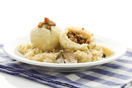 Greaves Dumpling With Sauerkraut On Plate,Close Up