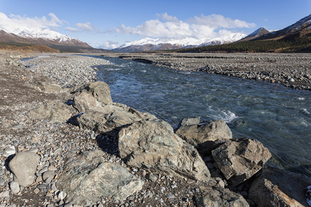 Usa,Alaska,View Of Toklat River At Denali National Park LANG_EVOIMAGES