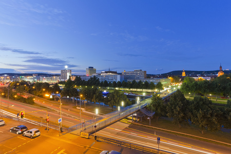 Germany,Saarland,View Of Express Highway And City