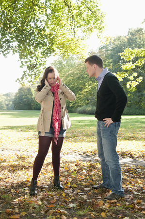 Germany,Berlin,Couple Arguing In Autumn Park