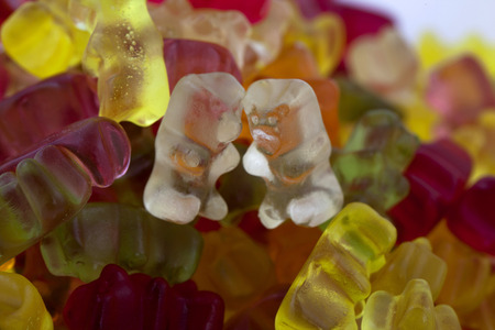 Colourful Gummy Bears On White Background LANG_EVOIMAGES