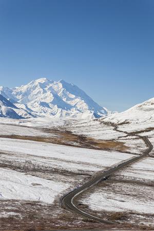 Usa,Alaska,View Of Mount Mckinley And Park Road At Denali National Park