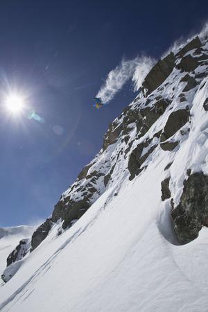 Austria,Tirol,Young Man Doing Freeride Skiing